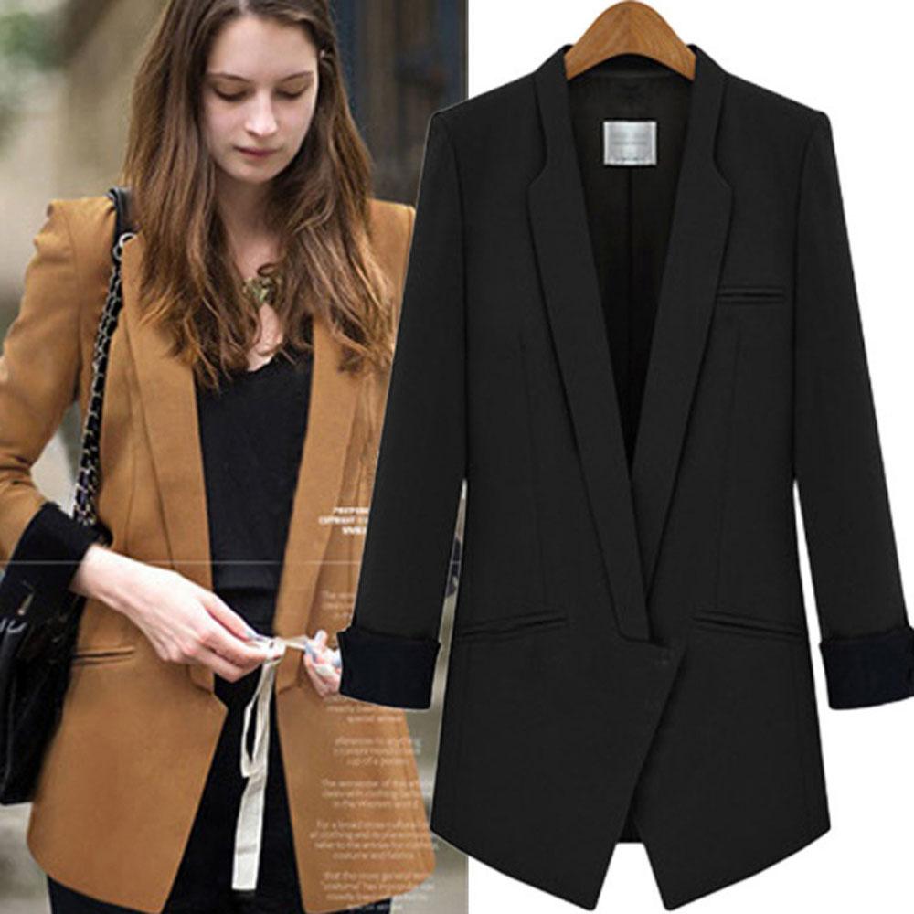 Blazers For Women: Spring Autumn Patchwork Long Blazer Women Collar Blazers