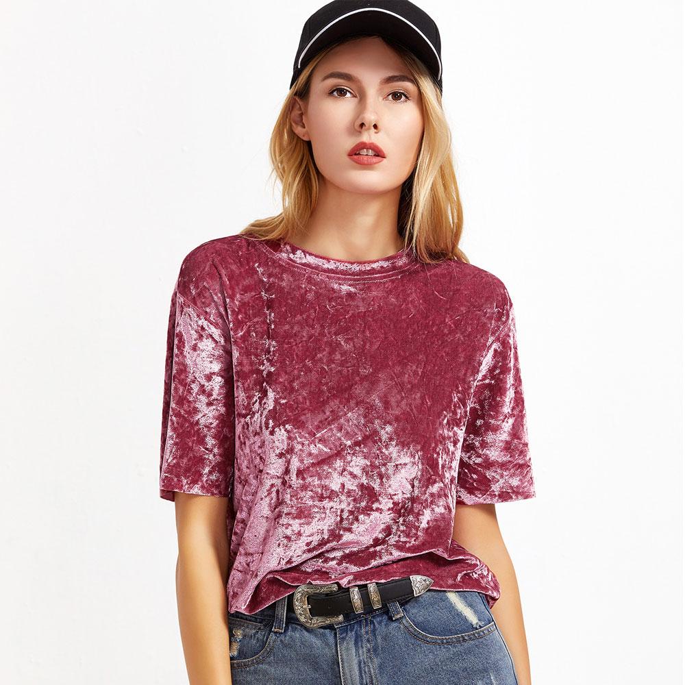 Ladies Velvet Tops Casual Womens Loose Blouse Boat Neck T Shirt