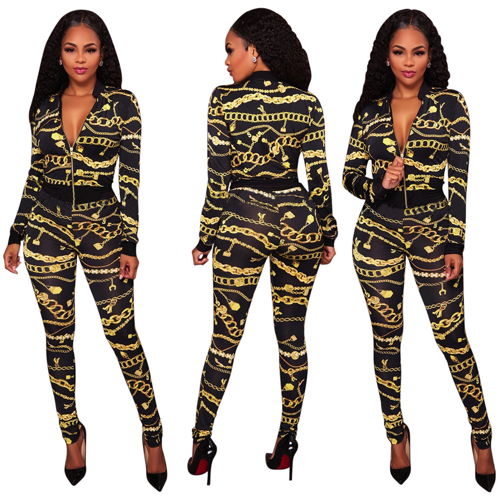 7e40149354 Women's 2 Pieces Set Autumn Long Sleeved Jacket + Long Pants ...
