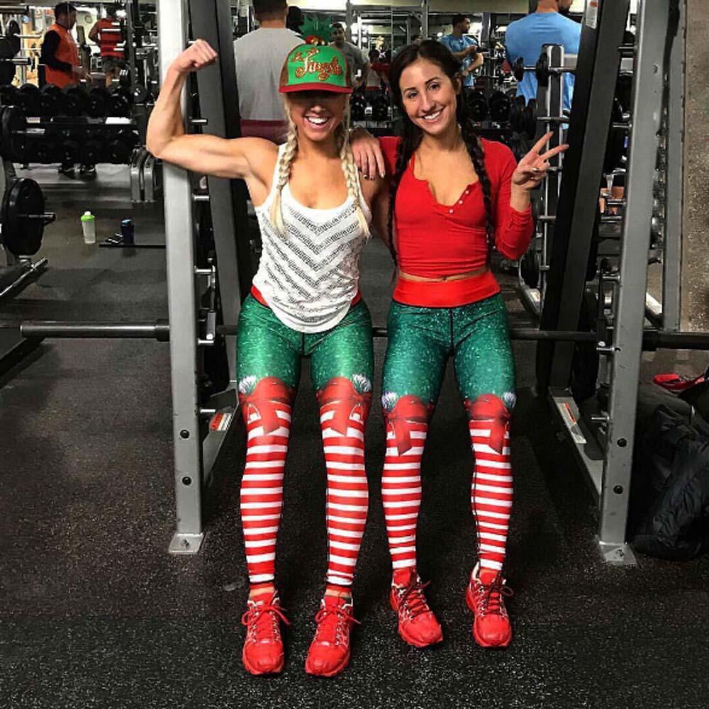 Christmas Running Leggings.Women Christmas Striped Fitness Yoga Leggings Running Gym